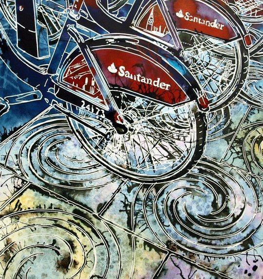 Boris Bikes Painting of the London Passenger bikes in the streetBoris Bikes - ©2016 - Cathy Read - Watercolour and Acrylic - 30.8 x 45.2 cm - £348