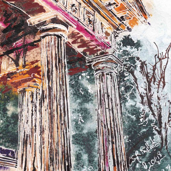 Painting of Columns at one of the temples at Stowe Gardens 4950 Painting Challenge20 Temple Columns - ©2018 - Cathy Read - Watercolour and Acrylic - 17.8x17.8cm £140 framed