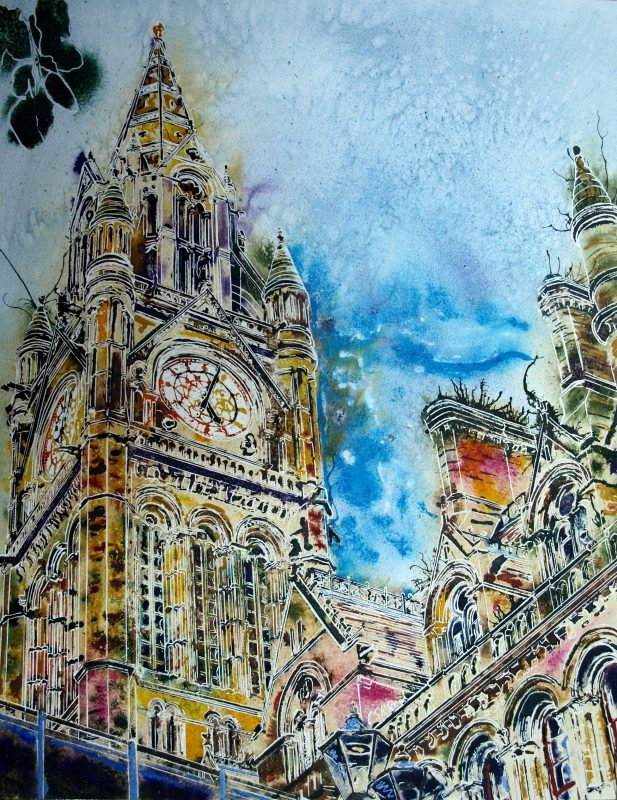 Upward looking painting ofManchester Town Hall - The Heart of Manchester - Cathy Read - ©2018- 50 x 40cm - SOLD