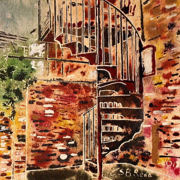 21-Spiral-Staircase- Cathy-Read- ©2018 - Watercolour-and-Acrylic-17.8x17.8cm- £154