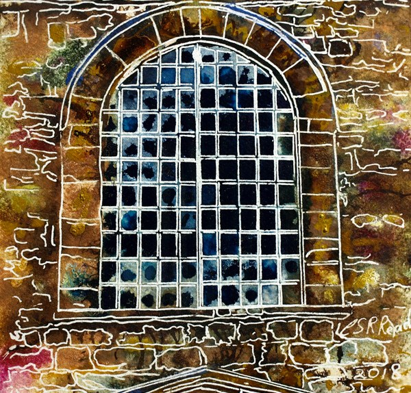 Painting of a metal window in rural Buckinghamshire33 Metal Window - Cathy Read ©2018 - Watercolour and Acrylic - 17.8x17.8cm - £154
