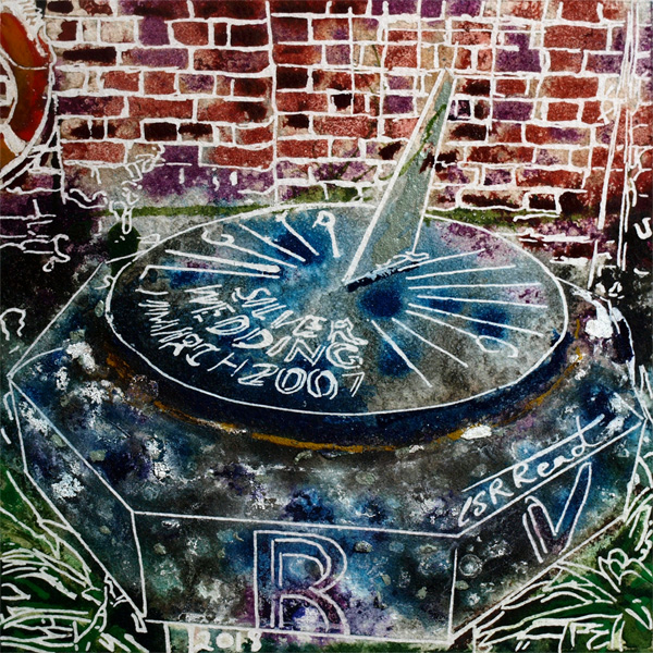 Original painting of the sundial in the walled gardens at Claydon House in Buckinghamshire34 Sundial - Cathy Read - ©2018 - Watercolour and Acrylic - 17.8 x 17.8cm - £154