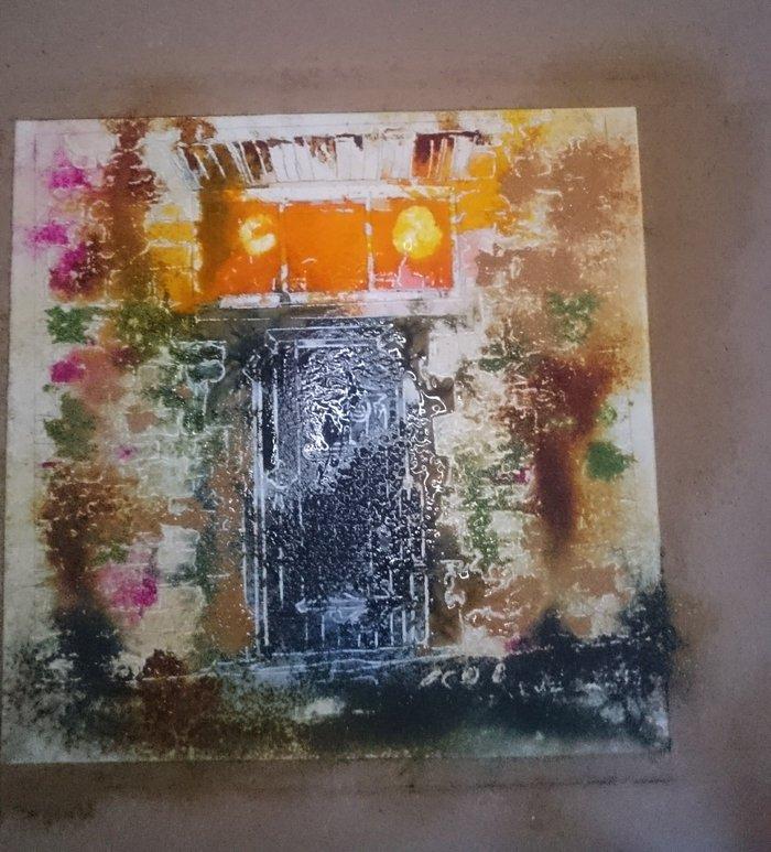 Paintnig in progress of a door.37 Robot Door - WIP -Cathy Read - ©2018 - Watercolour and Acrylic  - 17.8x17.8cm - £154