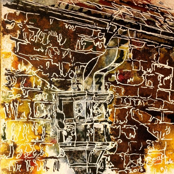 41 - Drainpipe painting- Cathy Read - ©2018 Watercolour and Acrylic - 17.8x17.8cm