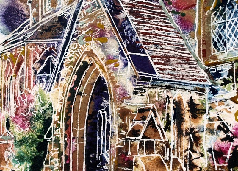 Rainbow porch painting is the Radcliffe centre Buckingham42 - Porch - Cathy-Read- ©2018 - Watercolour and Acrylic - 17.8x17.8cm
