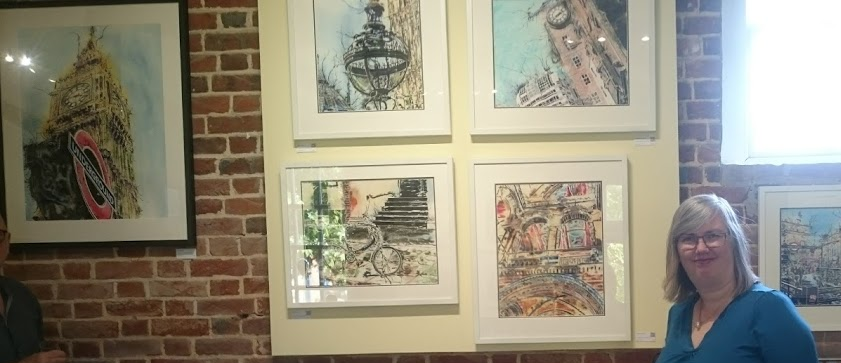 Cathy Read and paintings at Claydon Bucks Art Weeks in 2018