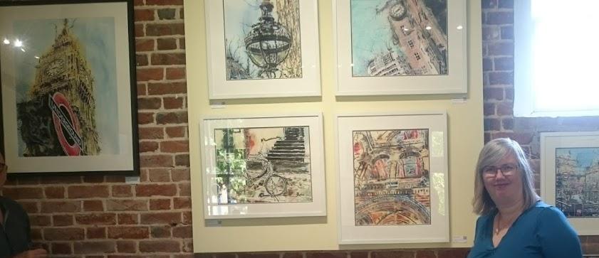 Cathy Read and paintings at Claydon Bucks Art Weeks in 2018