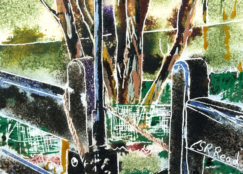 Painting of a gate latch at Stowe49 Gate Latch - ©2018 - Cathy Read -Watercolour and Acrylic - 17.8x17.8cm