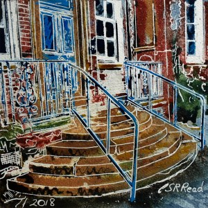 29 Hospital Steps - ©2018 - Cathy Read - Watercolour and Acrylic - 17.8x17.8cm painting of hospital steps