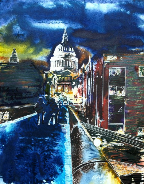 Painting of the Millennium Bridge St Pauls and London lit up at night Across the glowing bridge - ©2019 - Cathy Read - Watercolour and Acrylic - 40 x 50cm