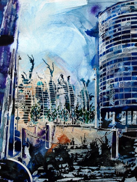 Salford Quays - ©2011 - Cathy Read - 40 x 28 cm - Mixed Media