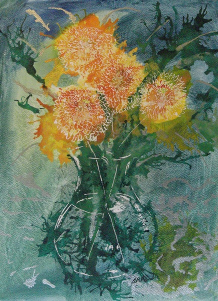 Chrysanthemums - ©2009-Cathy Read -38x28cm-Mixed-media-on-paper