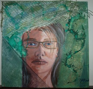 ©2011-Face of the Artist Reflected in her work-Mixed media collage- 30x30cm