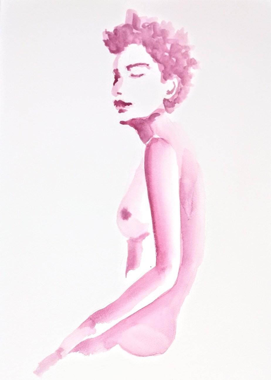 Desenho de modelo feminino nu, em aquarela, realizado durante Prática de modelo vivo com Rafa Coutinho e Laerte no espaço Breu em 2017.