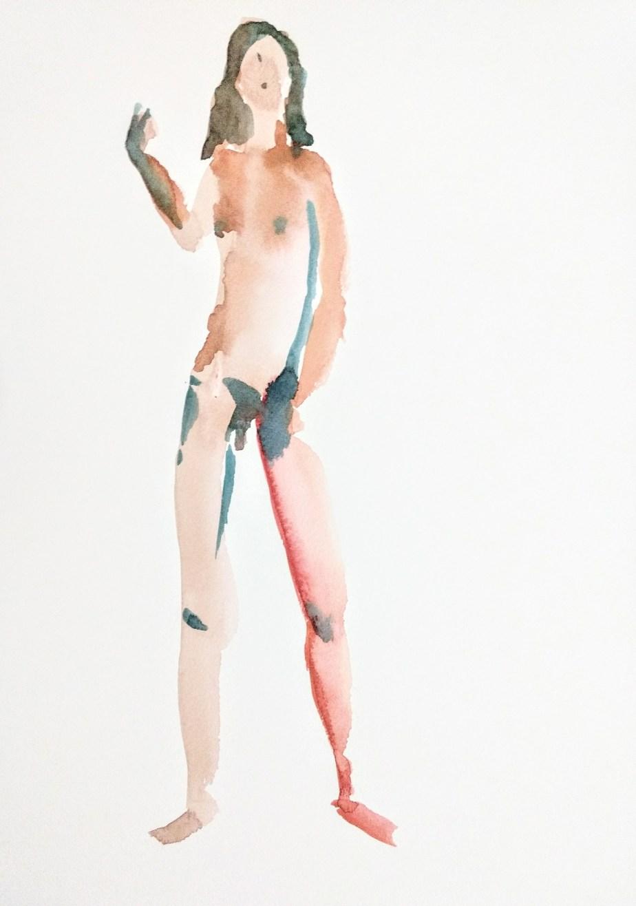 Desenho de modelo feminino trans nu, em aquarela, realizado durante Prática de modelo vivo com Rafa Coutinho e Laerte no espaço Breu em 2017.