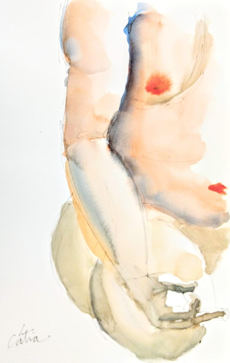 Desenho de modelo masculino nu, em aquarela e nanquin, realizado durante Prática de modelo vivo com Rafa Coutinho e Laerte no espaço Breu em 2018.