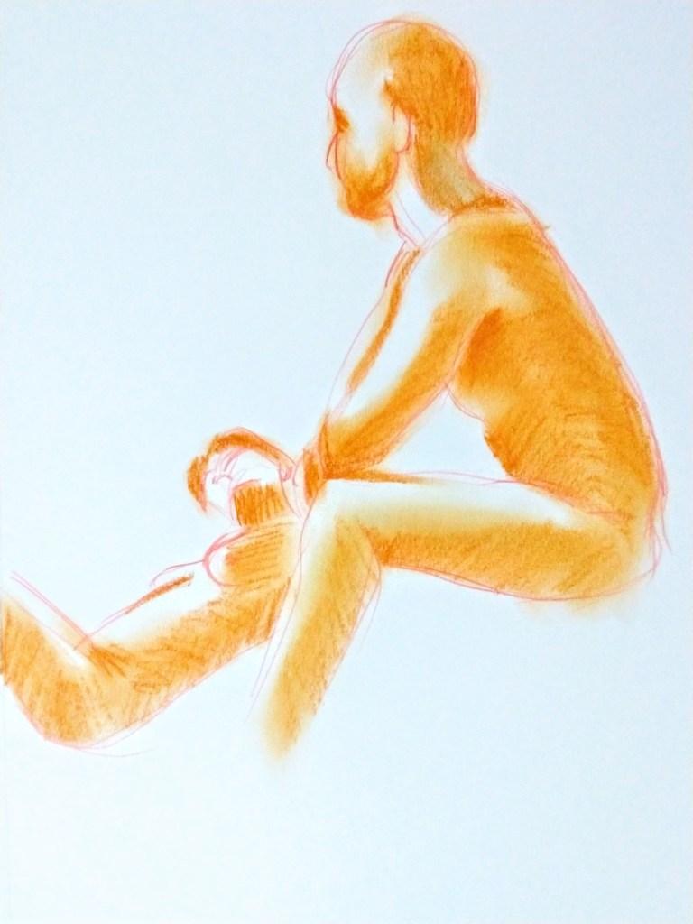 Desenho de casal nu em pastel oleoso e lápis de cor realizado durante Prática de modelo vivo com Rafa Coutinho e Laerte no espaço Breu em 2019.