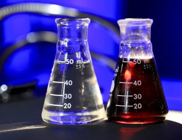 Science Beakers with chemical liquid