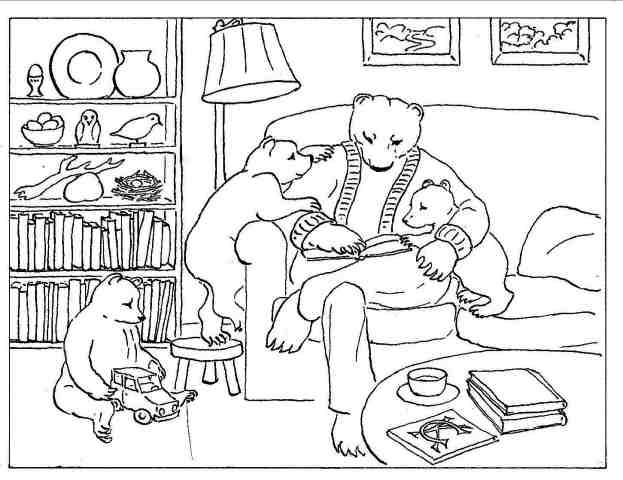 Bears Reading. More Bears Coloring Pages