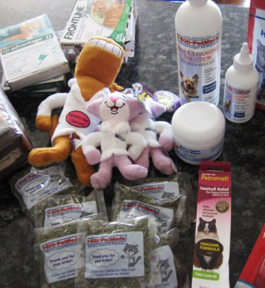 Some of the items from petmeds that went to Cat Guardians