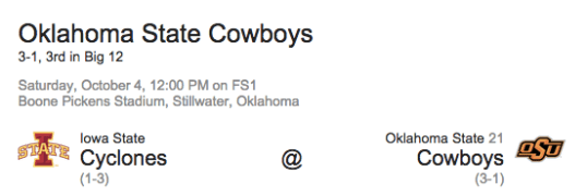 Oklahoma State Cowboys vs Iowa State Cyclones