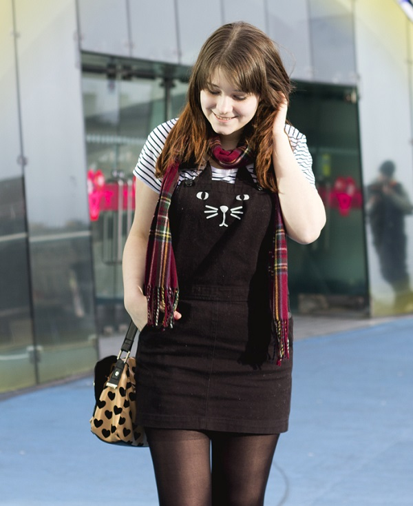cat print pinafore dress