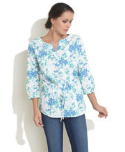 Color Cocktail Falling Flowers Top, medium blue, m