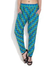 ENAH Honeycomb And Zig Zag Printed Pants, sky blue, xs