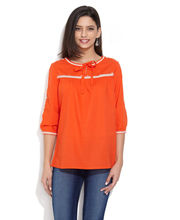 GIPSY Embroidered Cotton Top, orange, l