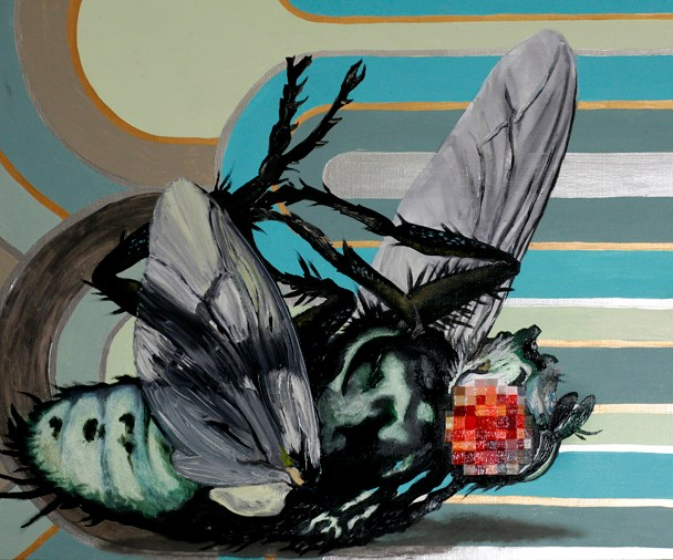 """""""Death & Disease Copulating: Afternoon Demise,"""" 2011, 24"""" x 24""""x 2.5"""", Oil paint, metallic/iridescent pigment on wood panel."""