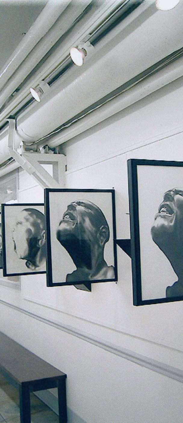 """Disutopian Dreamworld Installation"" 2-sided framed charcoal drawings, custom shelves & sculptures."