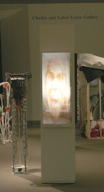 """""""Why Cinema Rules"""" & """"7 Foot Stand-In"""" installed at the Ackland Art Museum, UNC-Chapel Hill."""