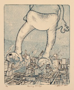 """""""Leaving Chicago"""" 2003, Etching with Aquatine, 12″ x 16″"""