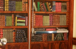 """Trompe L'oeil Book Shelf (DETAIL), 2012, 8'6"""" x 7'8"""" (each side.) Galloway Ridge Health Facility, Pittsboro, NC. Acrylic on metal doors, sealed. Commissioned by: Weaver Cook Construction."""