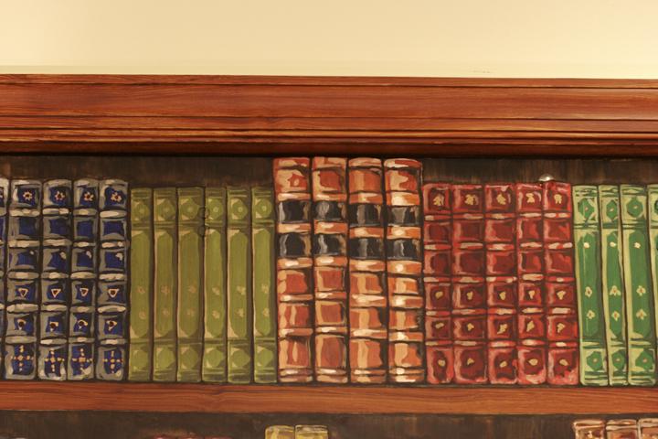 Trompe L'oeil Bookshelf (Detail of books)