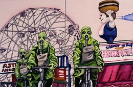 "Unstable Environment #1: Tubesteaks! (Diptych) 2011, 12"" x 24"" x 2.5"", Oil & latex paint, pen, marker on canvas."