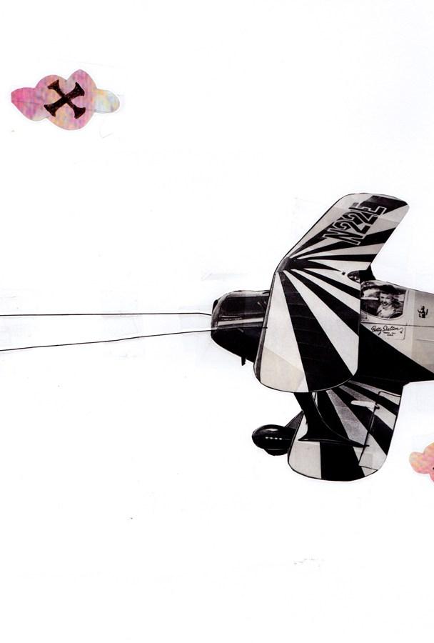 """Plane Front"" Digital/graphic image with multi-medium collage."