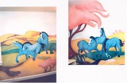 Blue Pony Mural. 15' x 8'. Residence, Washington, DC. Acrylic paint.