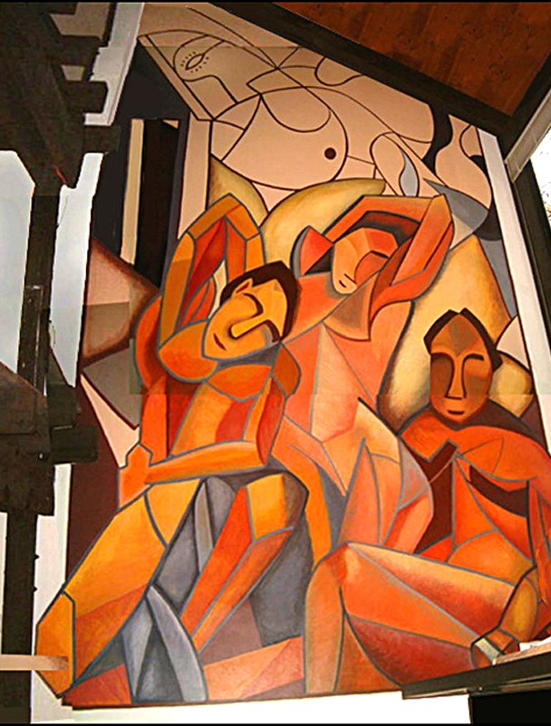 Cubist Mural, Residence, Cambridge, MA. Acrylic paint. 11' x 28' 	Commissioned by: Katz & Associates