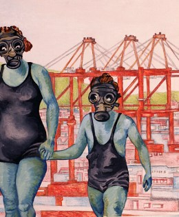 """""""Plays Together""""(Diptych) 2008, 12″ x 24″ x 2"""", Oil & latex paint, pencil on wood panel."""