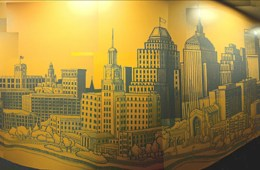 Turner Construction Mural, 2002. 34' x 8'.  Lobby Mural, World Trade Center 	East Bldg., Boston, MA. Acrylic paint.  Commissioned by: Visnick & Caufield Architects + Interior Design