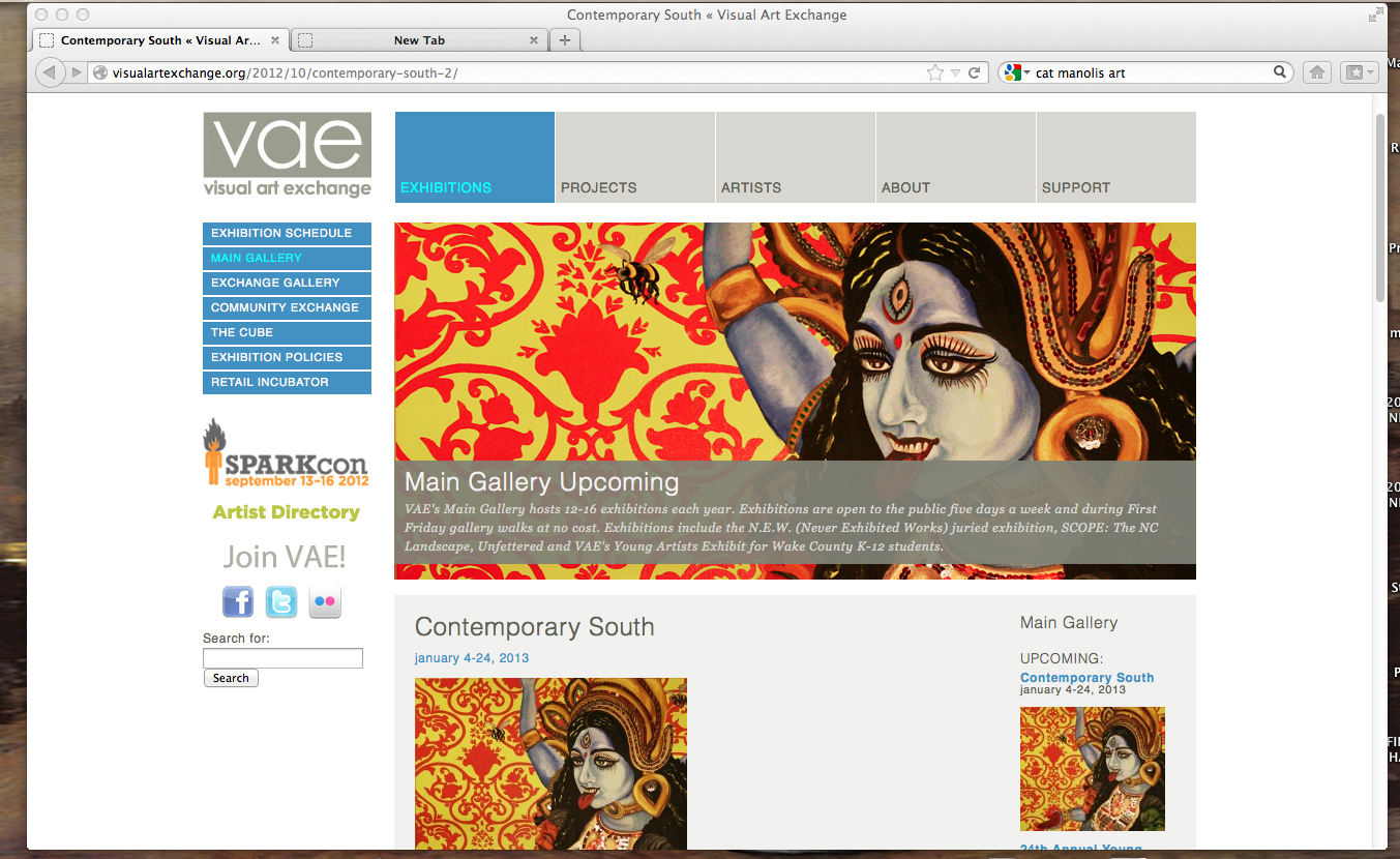 """K to the Nth"" on VAE web site to promote CONTEMPORARY SOUTH Exhibition"