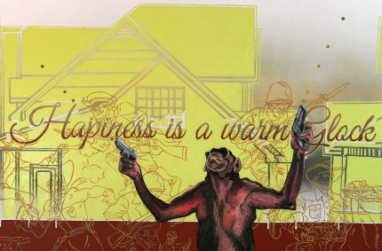 """Hapiness Is A Warm Glock, 40"""" x 30"""" x 2"""", Oil paint, latex paint, spray paint, sequins sewn onto canvas, 2013."""