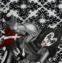 A Kiss For Copenhagen.  30″ x 40″ x 2″, Oil paint, spray paint & glitter on canvas.