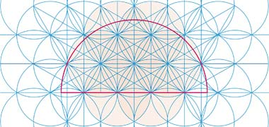 The development of lines establishing the pattern for the semi-circular over-panel