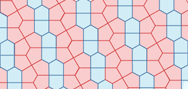 Examples of the Prismatic tile, left, and the Cairo tile, right