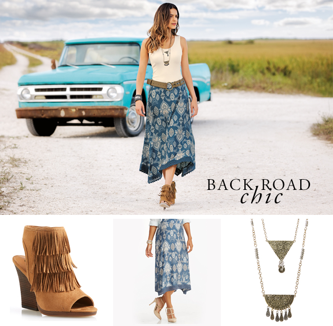 Backroad Chic. A girl walking in the dessert wearing a layering tank with a cool banana printed skirt, fringe booties and layered necklace.