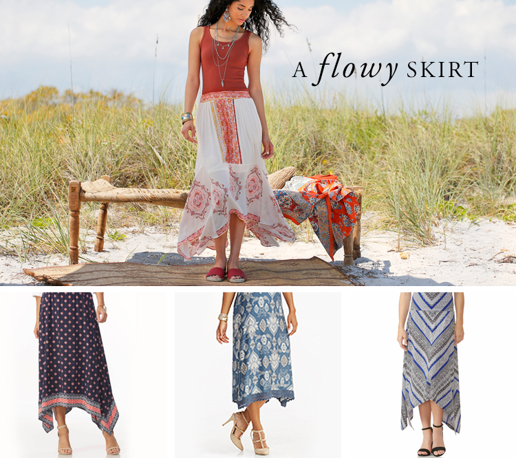 A flowy skirt. Examples shown.