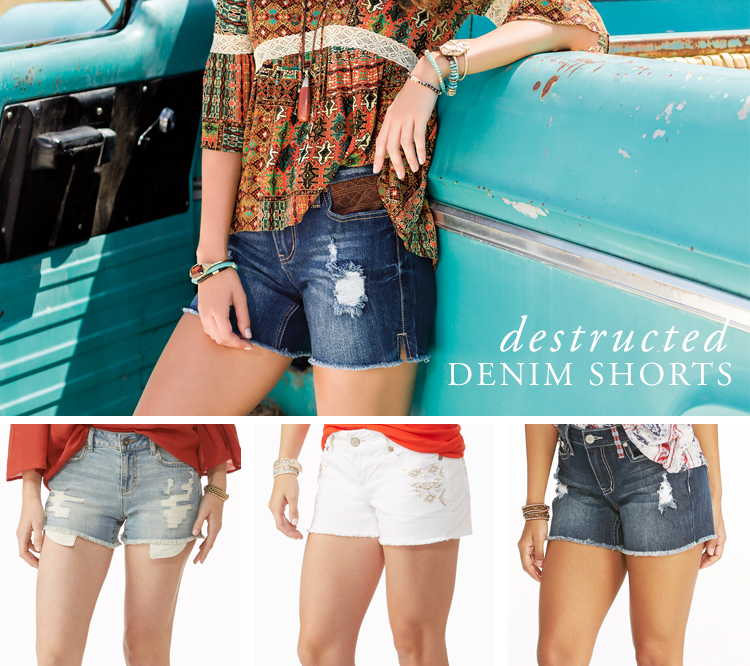 Destructed Denim Shorts. Examples shown.