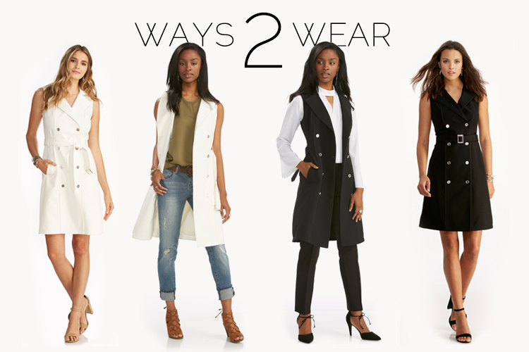 Ways to Wear Dresses. Showing the Cato Trench Dress styled many different ways.